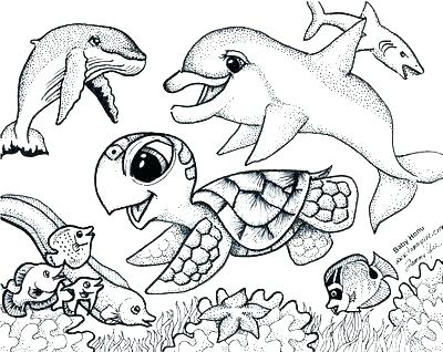 400x318 Sea Creatures Coloring Pages Ocean Life Coloring Pages Info Within