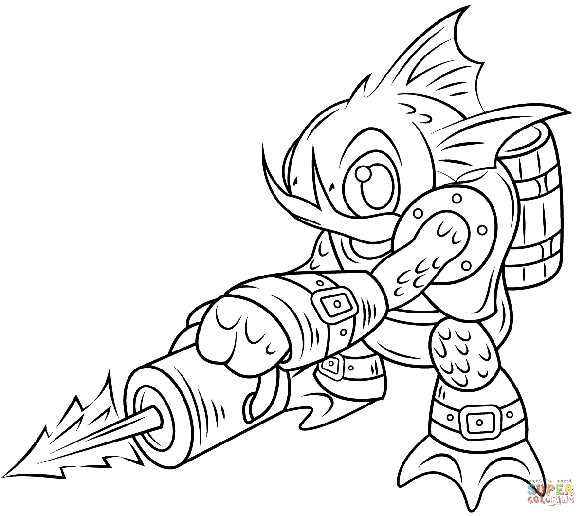 1202x1060 Powerful Creature From The Black Lagoon Coloring Pages Skylanders