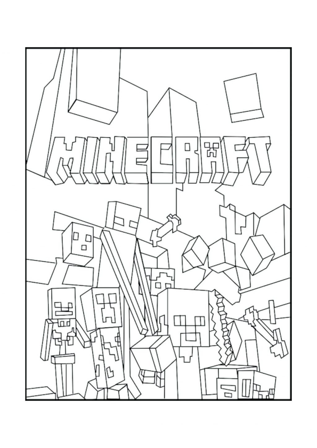 1024x1449 Coloring Pages Minecraft Coloring Pages Free Printable A Creeper