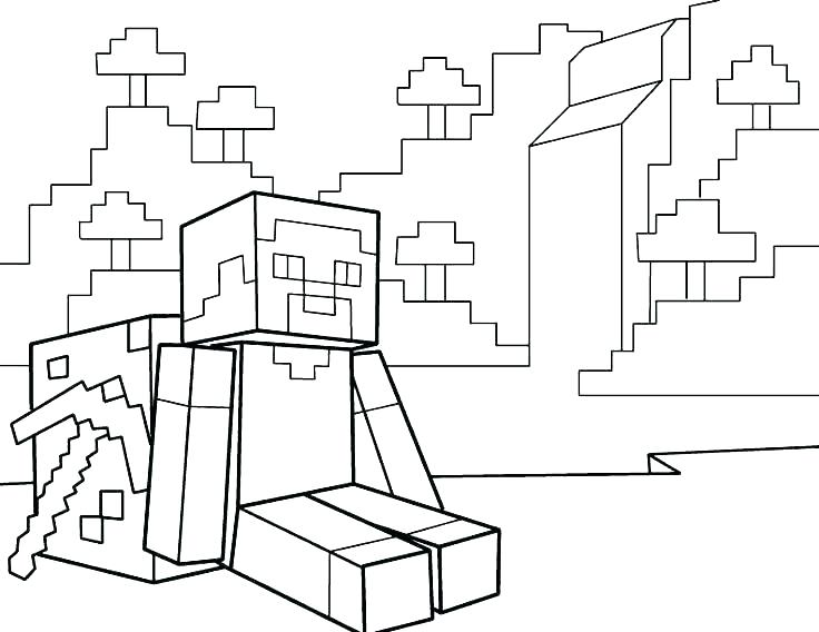 736x568 Minecraft Creeper Coloring Page
