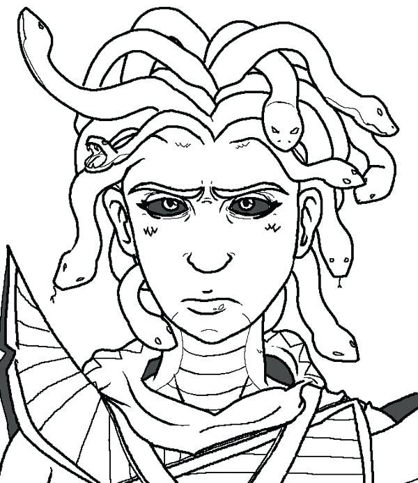 600x694 Creepy Coloring Pages Creepy Medusa Coloring Page Creepy Halloween