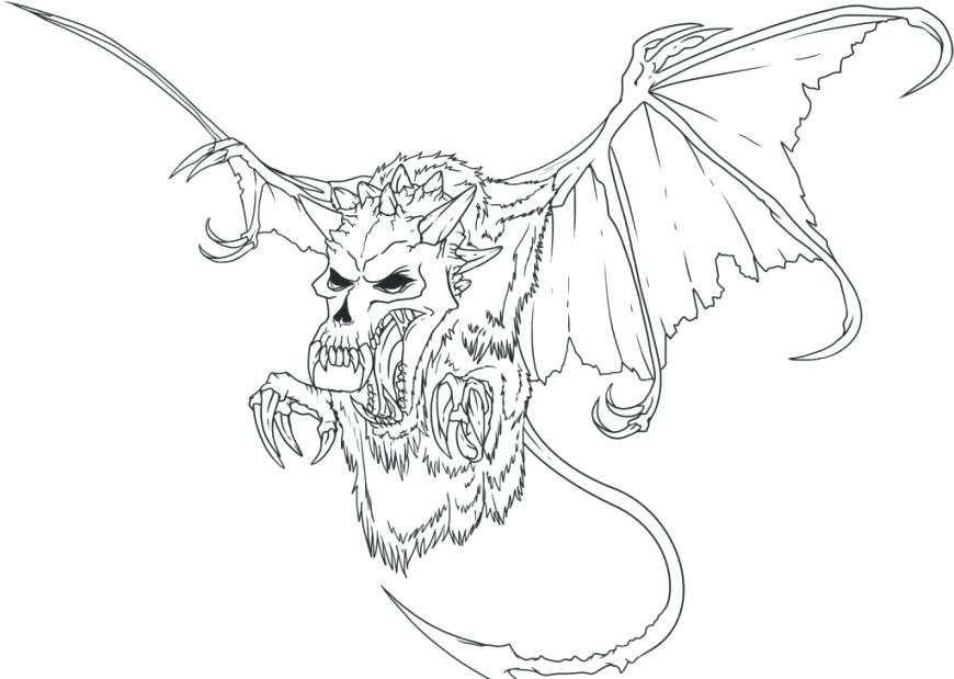 870x619 Creepy Coloring Pages Scary Dragon Coloring Pages Creepy Doll