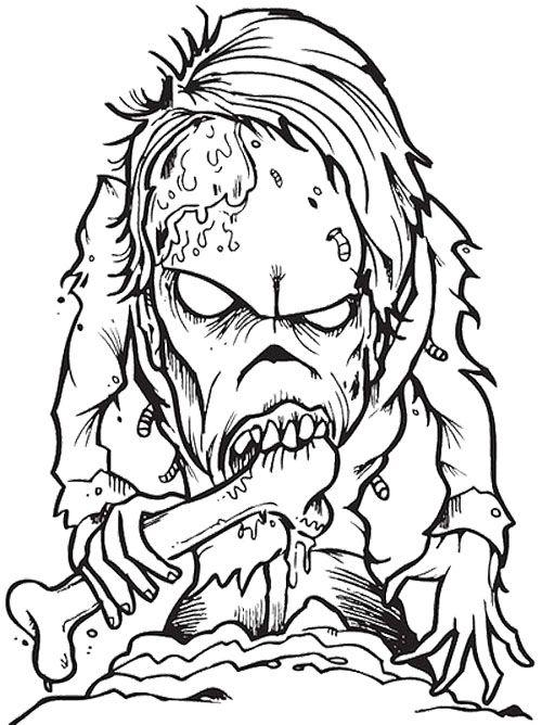 500x668 Zombie Creepy Coloring Page Zombie Coloring Creepy