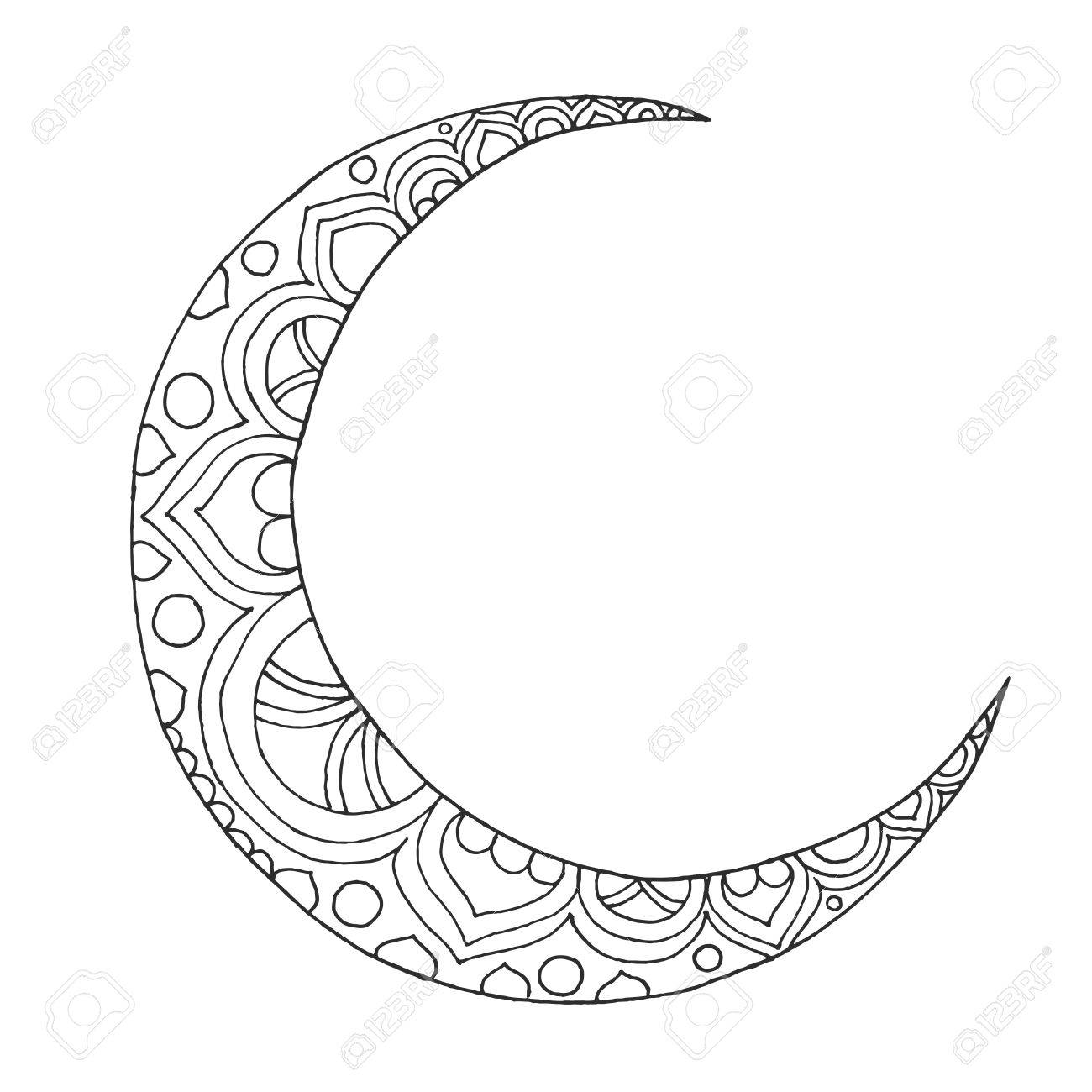 1300x1300 Quality Half Moon Coloring Page Crescent Acpra