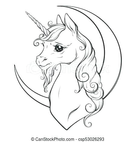 450x470 Crescent Moon Coloring Page Crescent Moon Coloring Page Unicorn