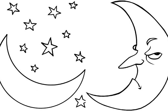 678x450 Moon Coloring Pictures Crescent Moon Coloring Page Pin Moon