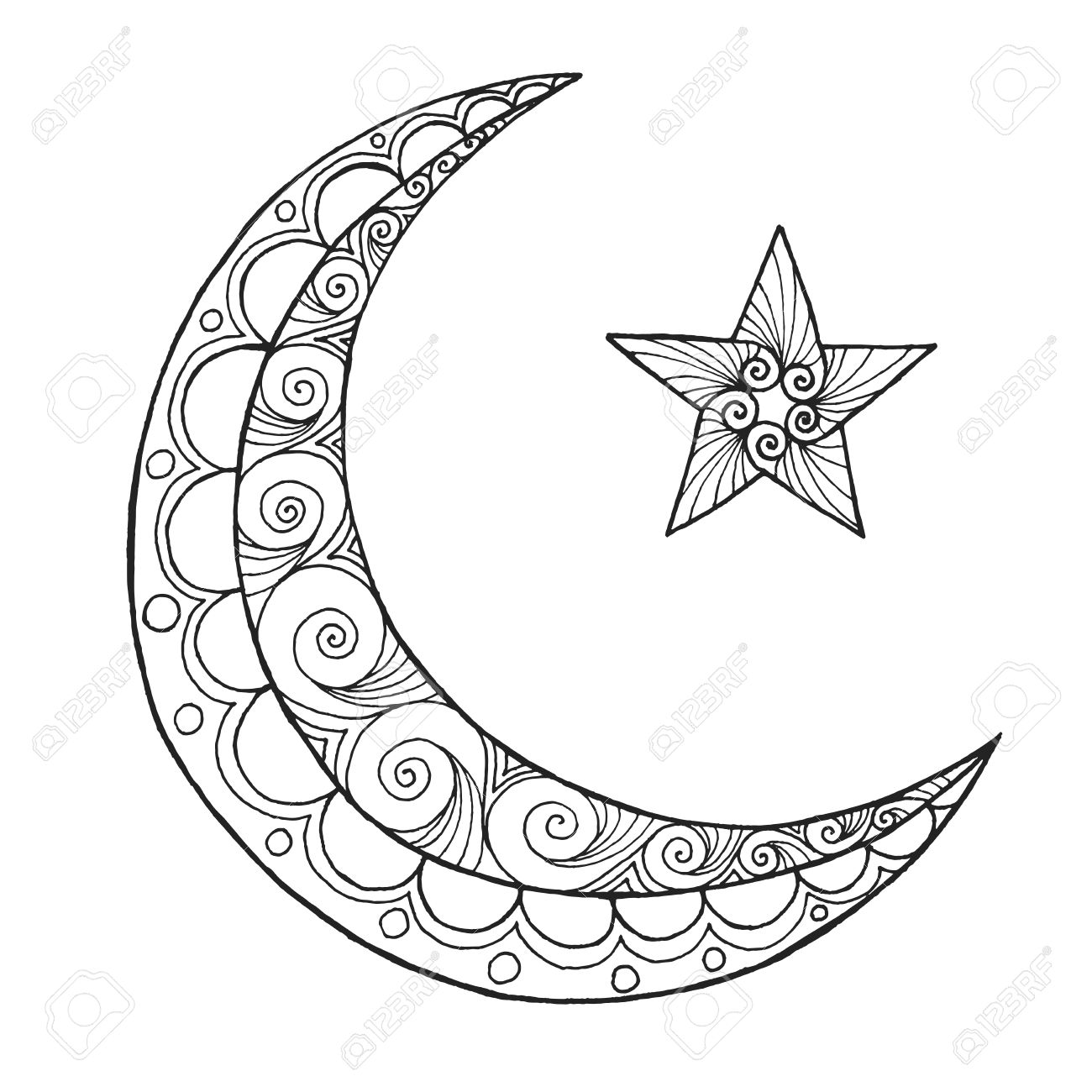 1300x1300 Noted Half Moon Coloring Page Mainstream Pages