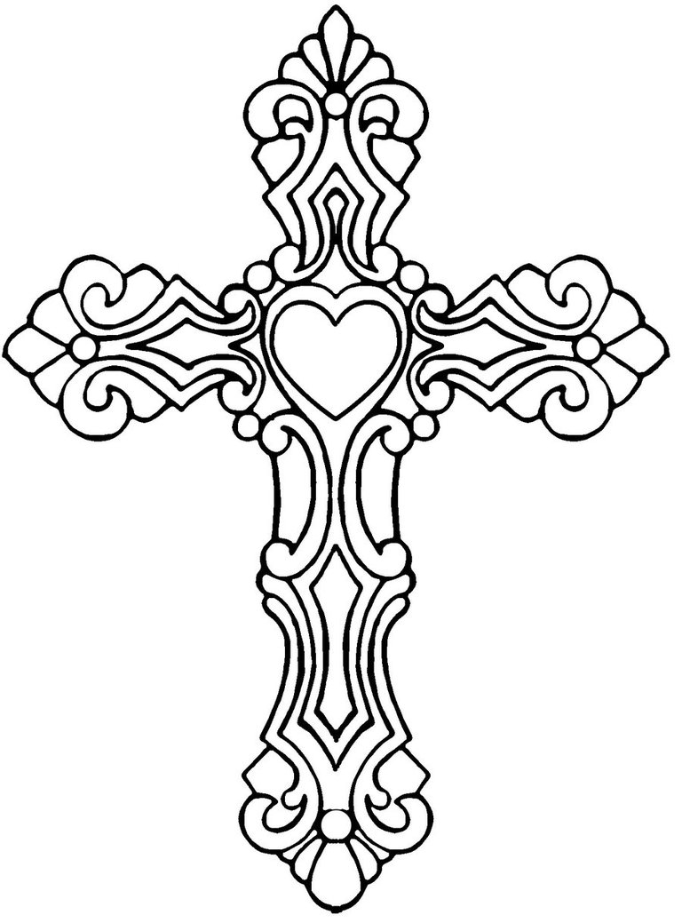 768x1039 Drawn Cross Coloring Sheet Page