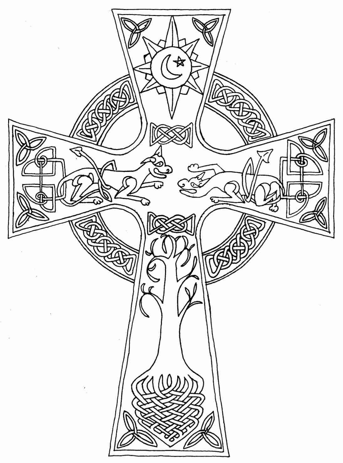 1095x1479 Simple Adult Coloring Pages Of Celtic Crosses Free Endear Cross