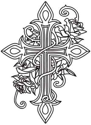 300x409 Adult Coloring Pages Cross Crosses Roses Quotes Adult Coloring