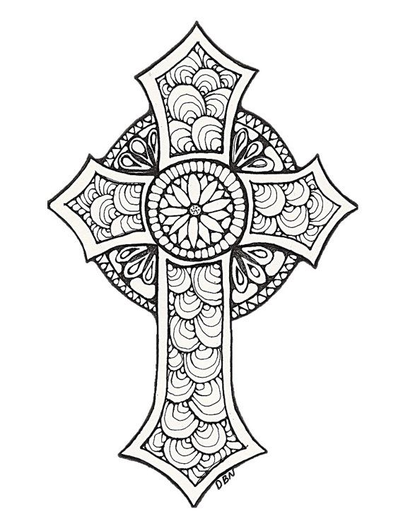 570x738 Adult Coloring Pages Cross Color Bros