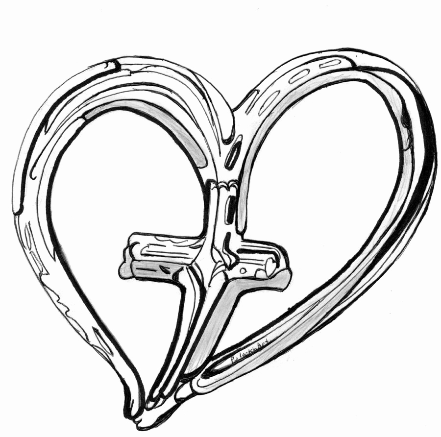 900x892 Heart Mentsdb Page Cross And Heart Coloring Pages