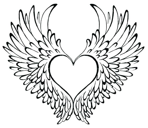 618x535 Hearts With Wings Coloring Pages Transasia