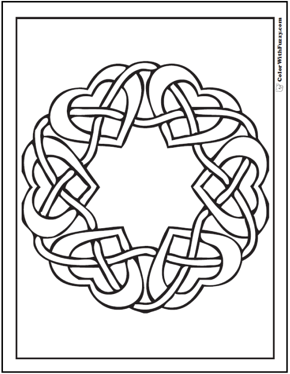 590x762 Celtic Design Coloring Mirrored Hearts Celtic Heart, Wreaths