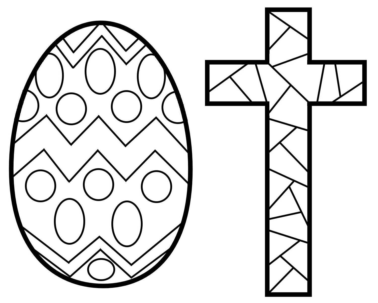 1500x1200 Easter Cross Coloring Pages Stained Glass Free Printable Within