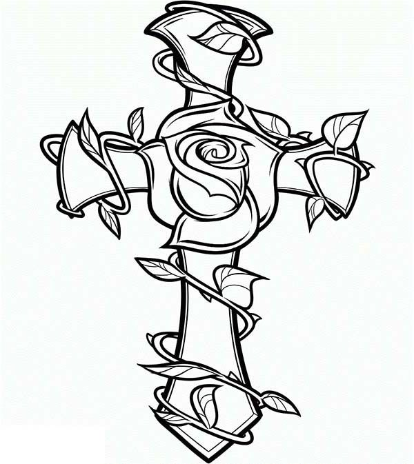 600x673 Coloring Pages Of Crosses And Roses Coloring Pages