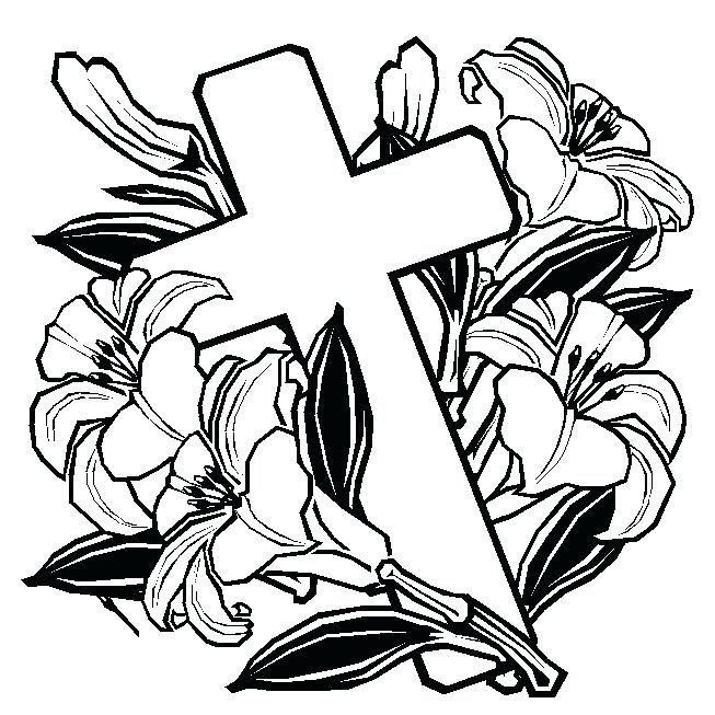 653x653 Coloring Pages For Easter Cross With Flowers Coloring Pages