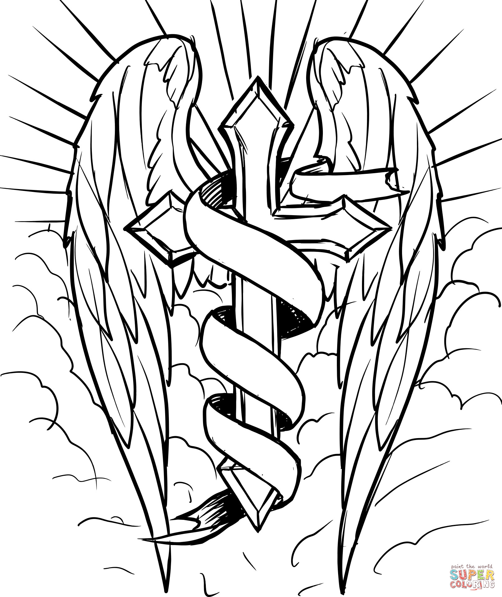 1617x1920 Spotlight Cross Coloring Sheets With Wings In The Clouds Page Free