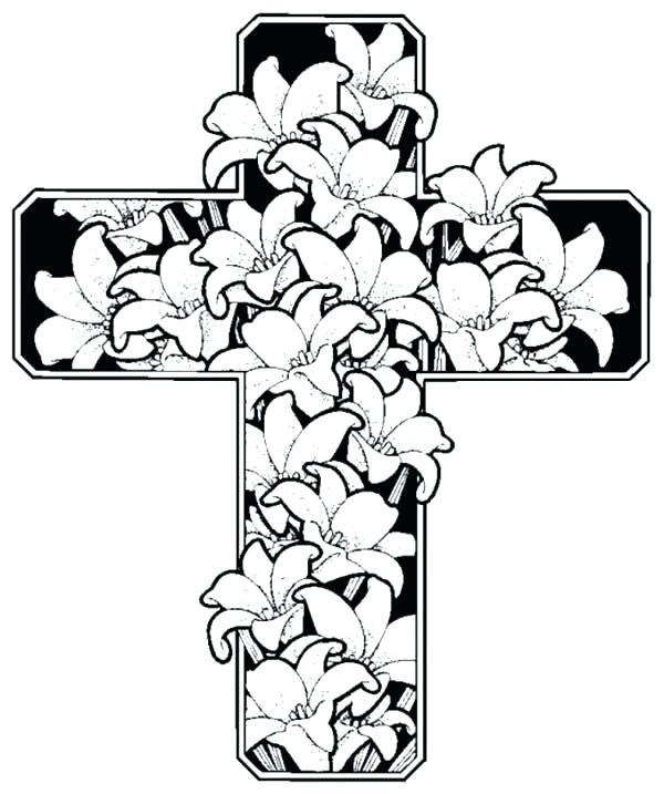 600x717 Celtic Coloring Pages Rose Decorated Cross Coloring Pages Free