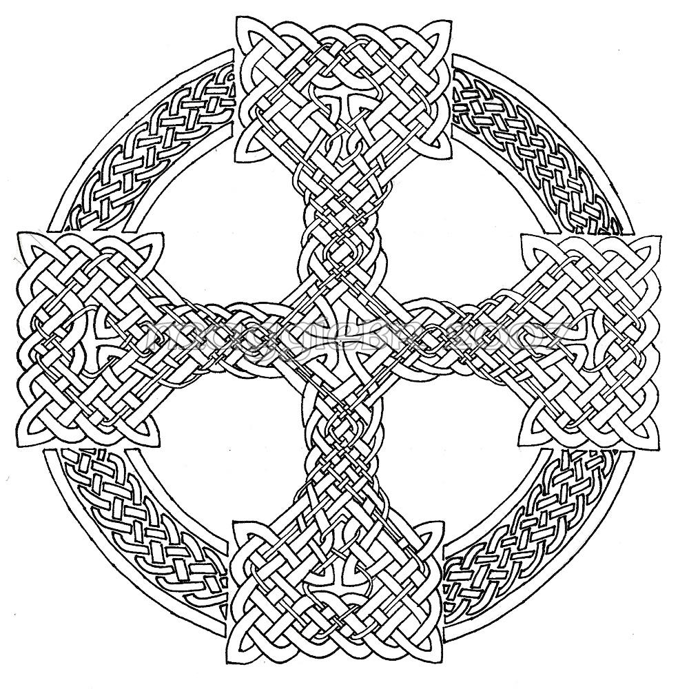 1000x1000 Celtic Cross Mandala Coloring Pages