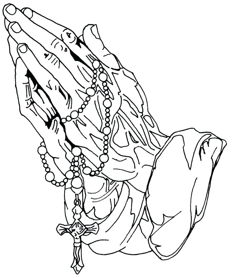 752x900 Tatoo Coloring Pages Hands Praying To God With Rosary And Cross