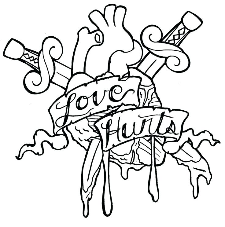 736x743 Tattoo Coloring Pages Love Tattoo Coloring Pages A Cross Tattoo