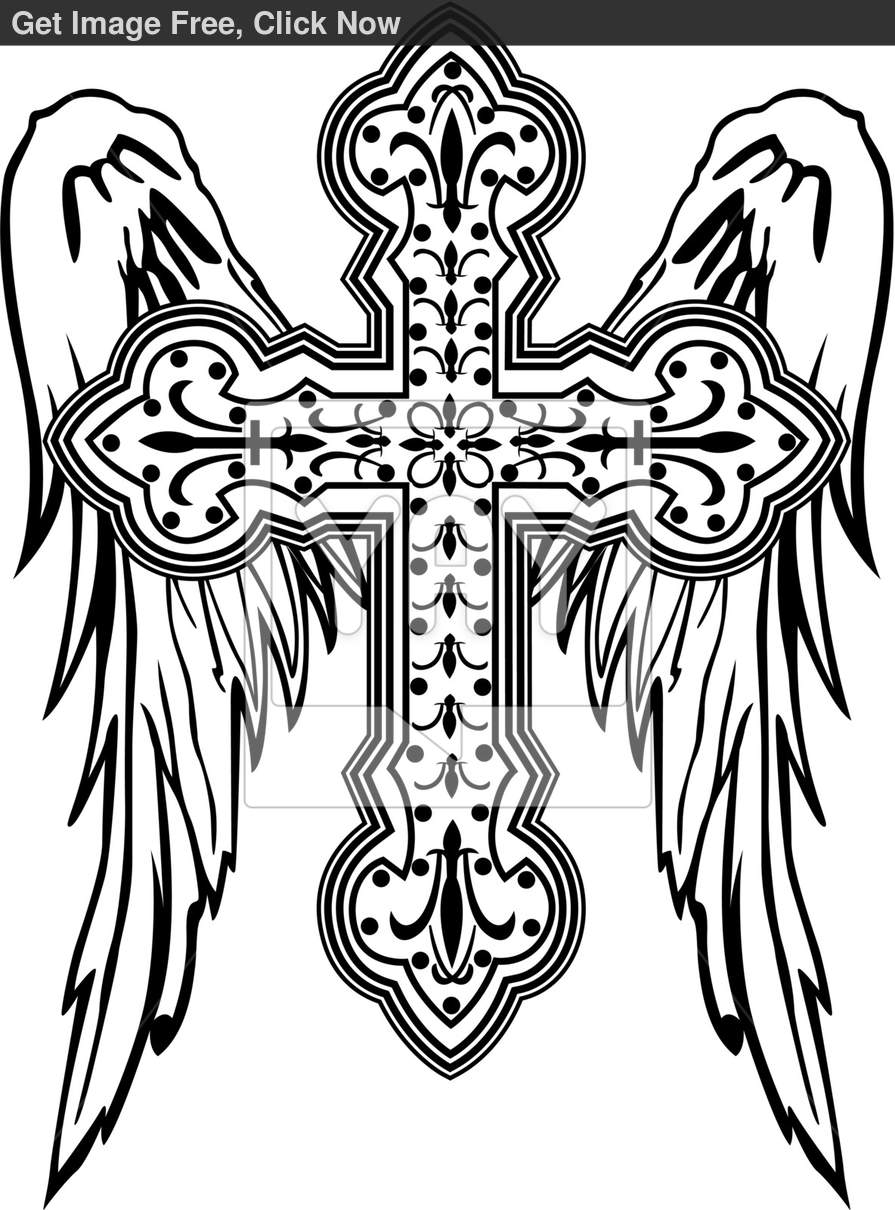 895x1210 Cross With Wing Illustration Cross Tattoos