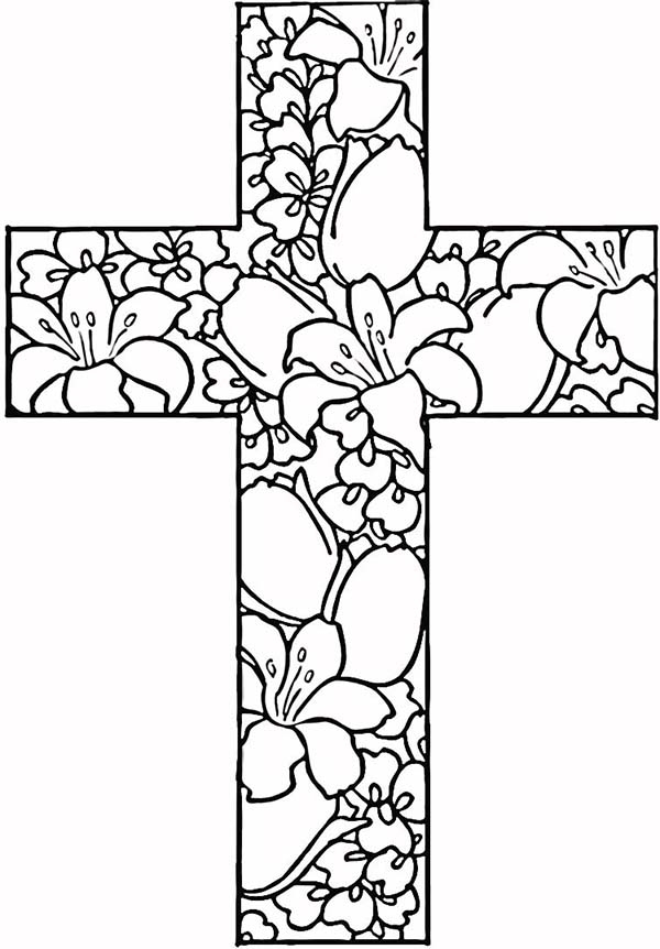 600x862 Printable Adult Coloring Pages Flowers Cross Free