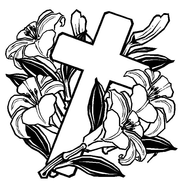 600x600 Cross With Roses Coloring Pages