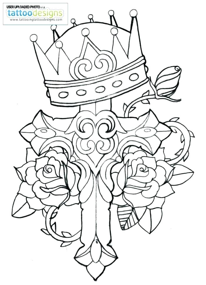 Cross With Roses Coloring Pages At Getdrawings Com Free For