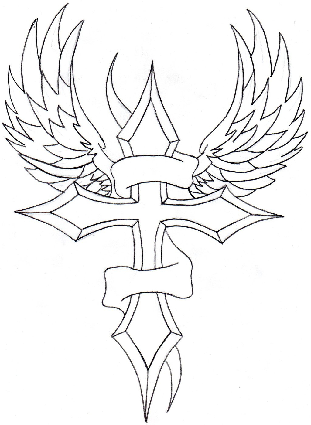 1024x1400 Cross With Wings Drawings Cross With Wings Coloring Page Free