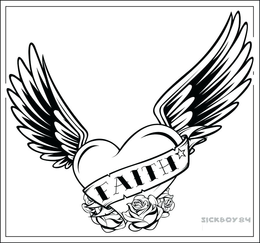 900x841 Hearts With Wings Coloring Pages Heart With Wings Coloring Pages