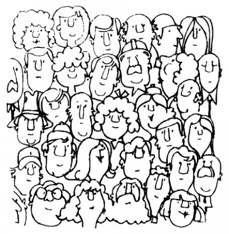 456x465 Crowd Of People Coloring Pages Sketch Coloring Page