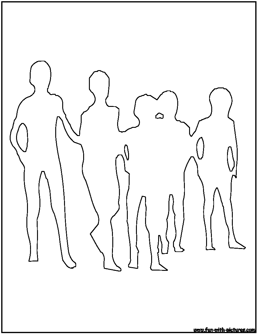 850x1100 Crowd Outline Coloring Page