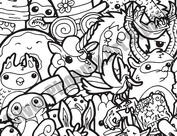 570x438 Doodle Crowd Adult Coloring Page Printable Digital Download
