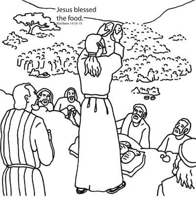 400x405 Jesus Feeds Coloring Page