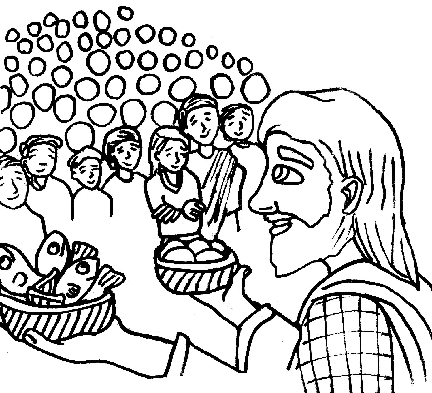 1499x1363 Wealth Feeding Of The Five Thousand Coloring Page Jesus Feeds