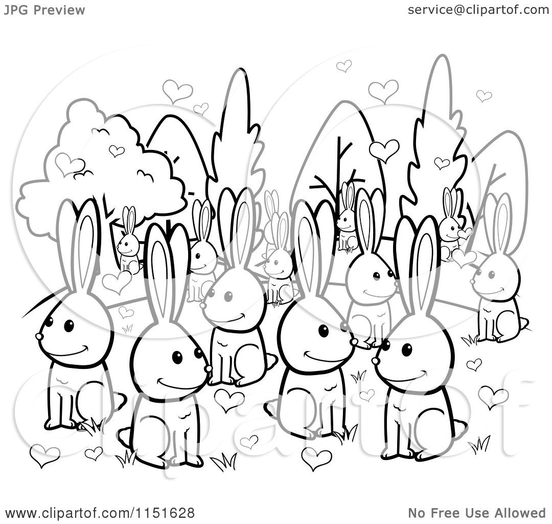 1080x1024 Cartoon Clipart Of A Black And White Crowd Of Amorous Rabbits