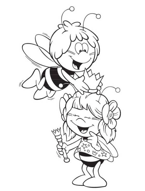 600x787 Maya The Bee Playing With The Royal Crown Coloring Page