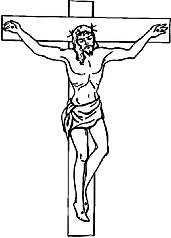 600x837 Good Friday Coloring Pages Jesus Crucifix On Cross Batch Coloring
