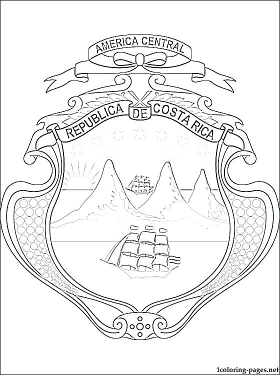 560x750 Costa Rica Flag Coloring Page