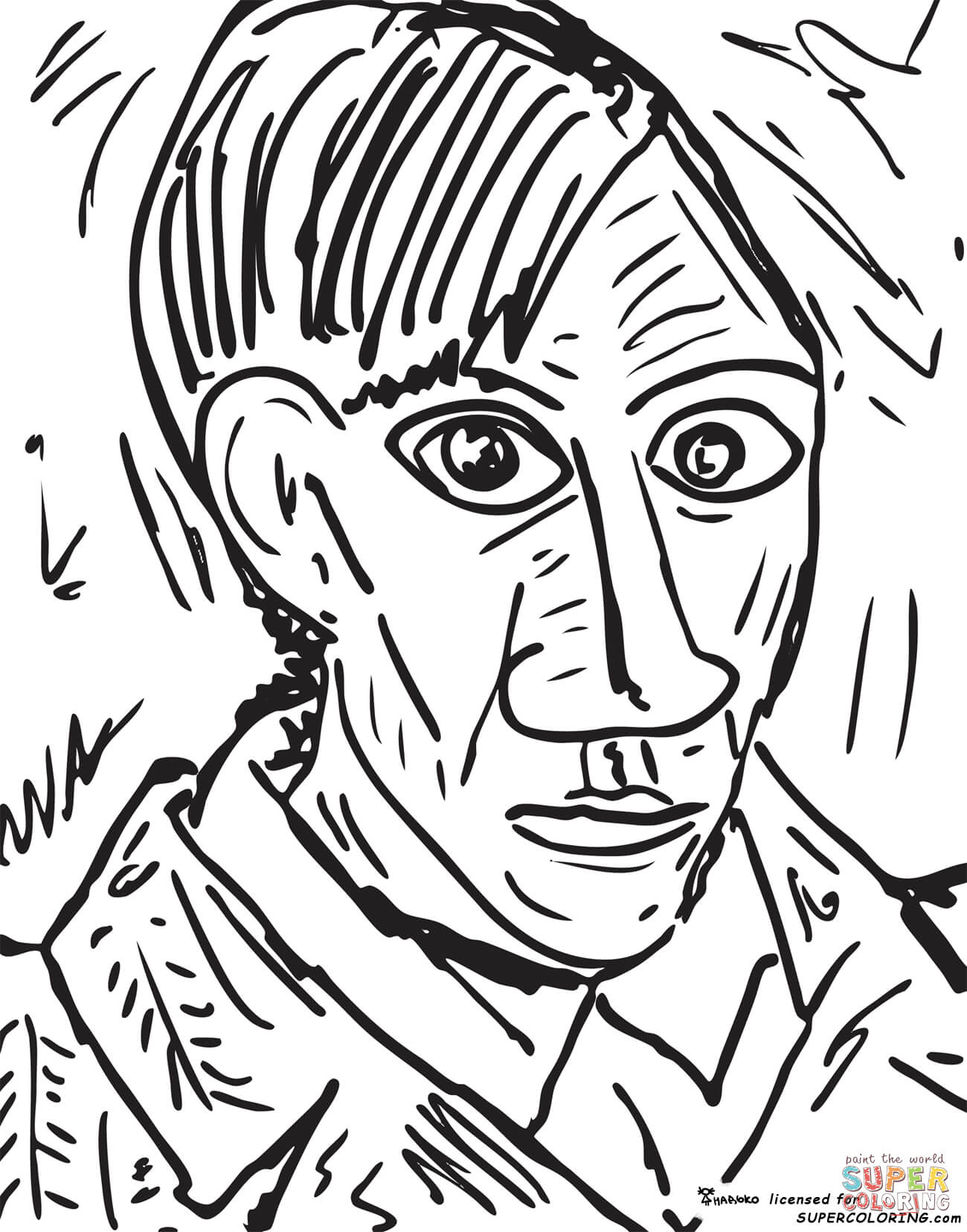 1300x1656 Self Portrait Pablo Picasso Coloring Page Free Printable Self