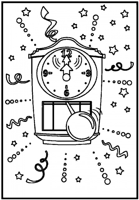 445x640 Clock Face Coloring Page