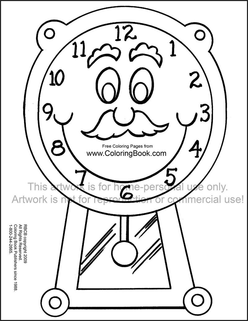 800x1035 Coloring Pages Online Clock Page