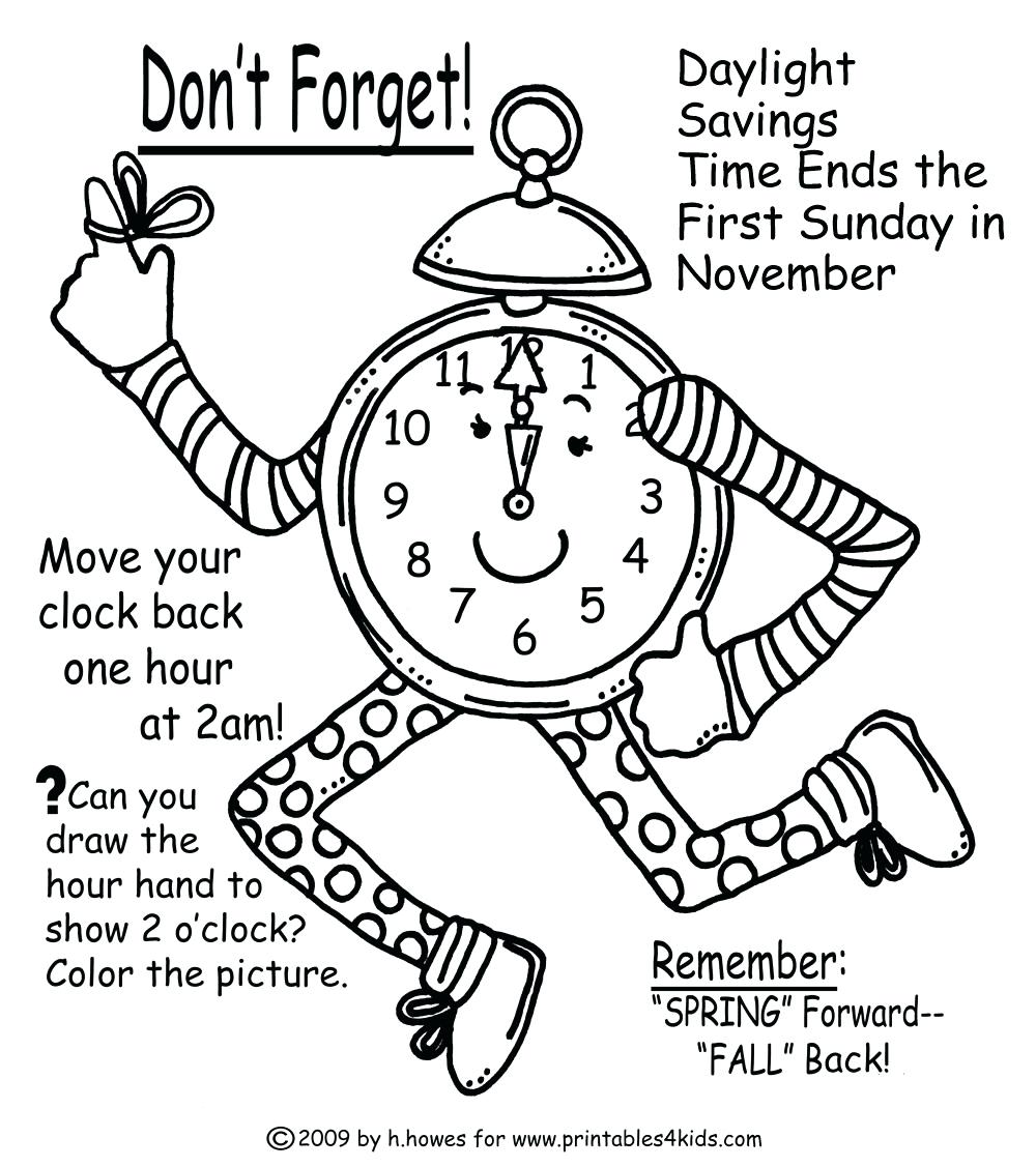1000x1127 Coloring Page Clock Coloring Page Fall Time Change Reminder Jack