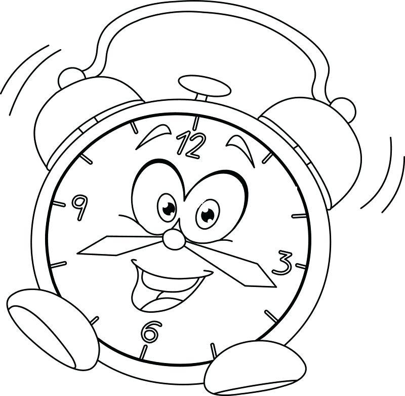 800x781 Clock Coloring Page Alarm Clock Cartoon Cuckoo Clock Colouring