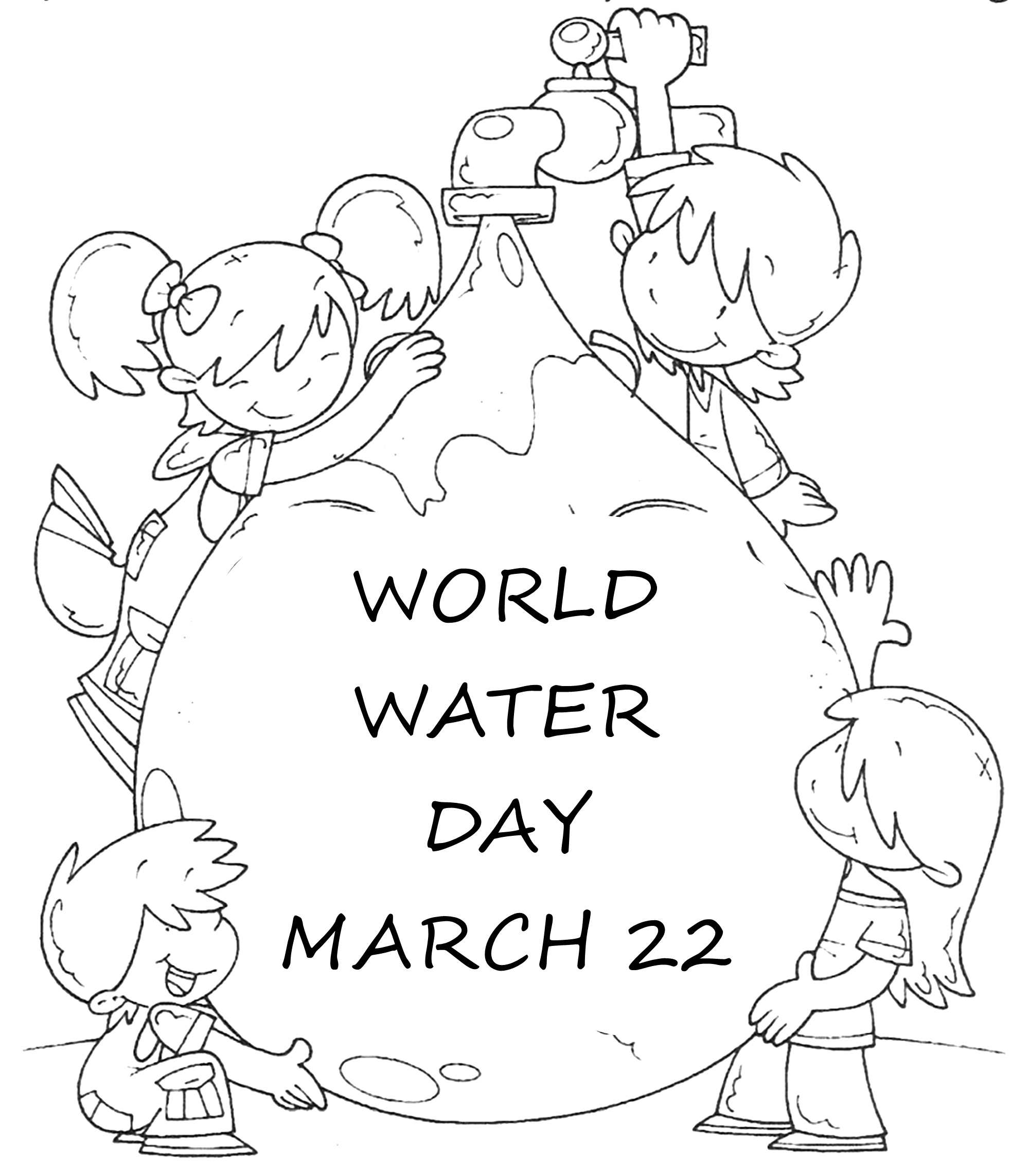 2000x2285 World Water Day Coloring Page Activity Drawings