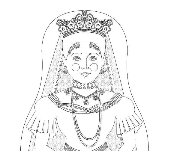 570x504 Alexandra Feodorovna Romanova Matryoshka Coloring Sheet