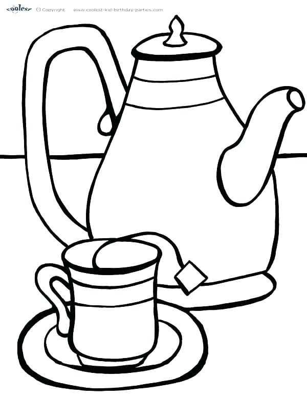 600x777 Cup Coloring Pages Tea Cup Coloring Page Pages Teapot Print