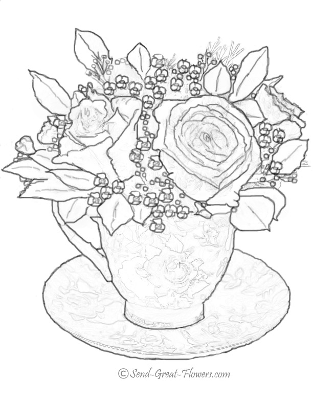 612x792 Free Printable Tea Cup Coloring Pages